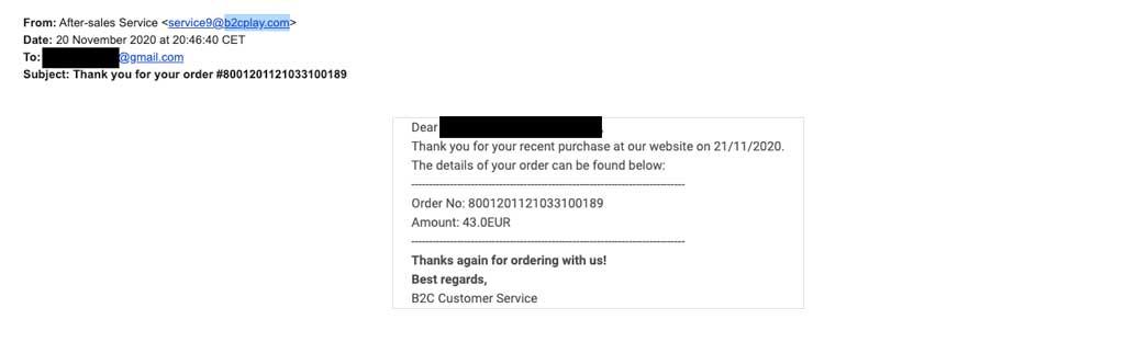ejemplo phishing fraude compra