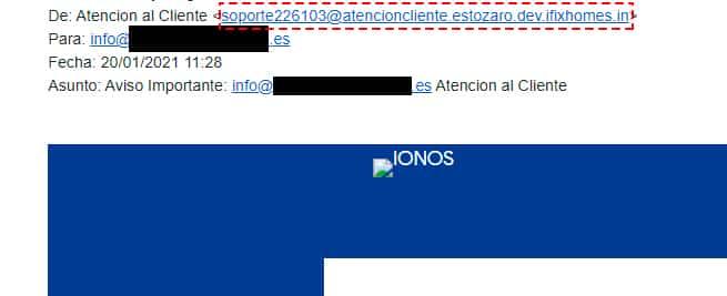 ejemplo phishing correo hosting