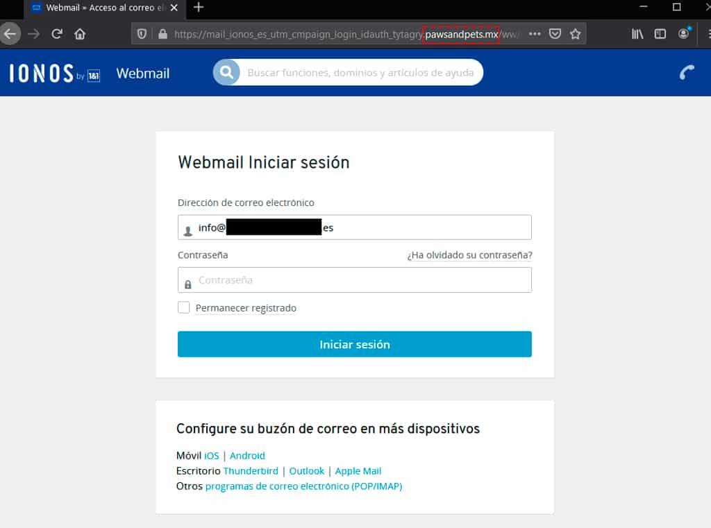ejemplo phishing web fraude