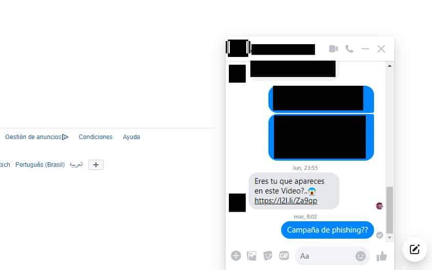 campaña phining facebook messenger